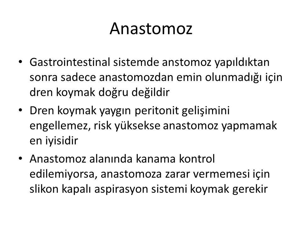 Anastomoz Gastrointestinal sistemde anstomoz yapıldıktan sonra sadece anastomozdan emin olunmadığı için dren koymak doğru değildir.