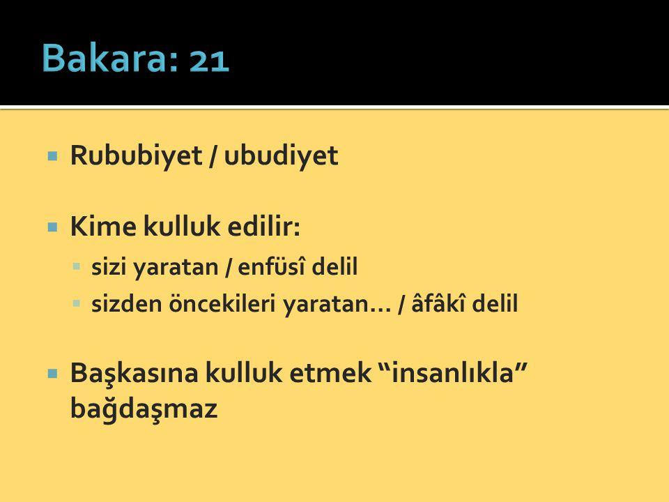 Bakara: 21 Rububiyet / ubudiyet Kime kulluk edilir: