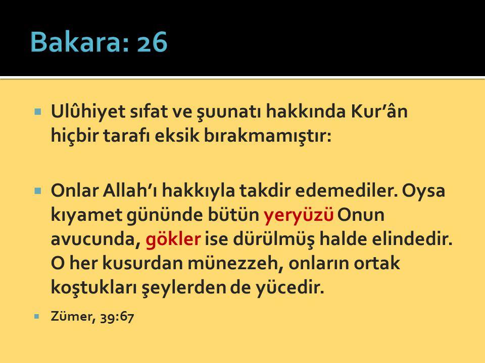 Bakara: 26 Ulûhiyet sıfat ve şuunatı hakkında Kur'ân hiçbir tarafı eksik bırakmamıştır: