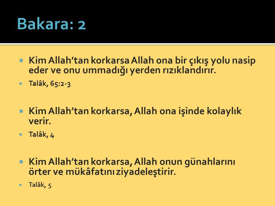 Bakara: 2 Kim Allah'tan korkarsa Allah ona bir çıkış yolu nasip eder ve onu ummadığı yerden rızıklandırır.