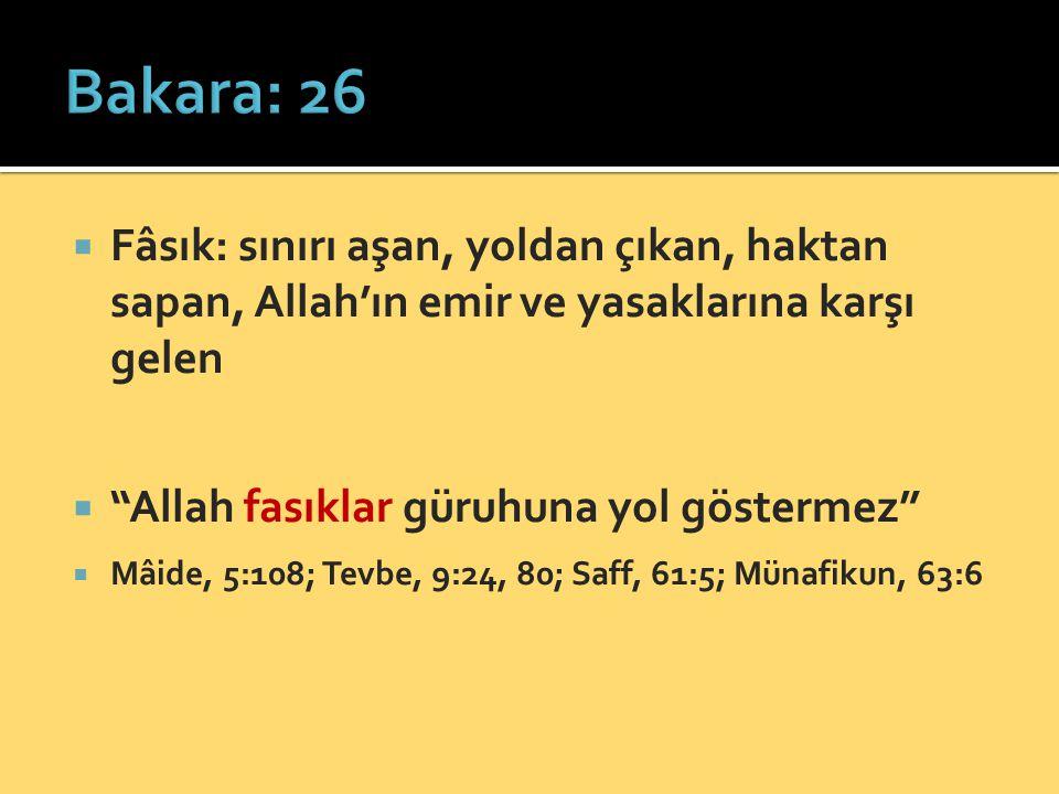 Bakara: 26 Fâsık: sınırı aşan, yoldan çıkan, haktan sapan, Allah'ın emir ve yasaklarına karşı gelen.