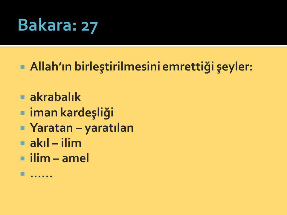 Bakara: 27 Allah'ın birleştirilmesini emrettiği şeyler: akrabalık