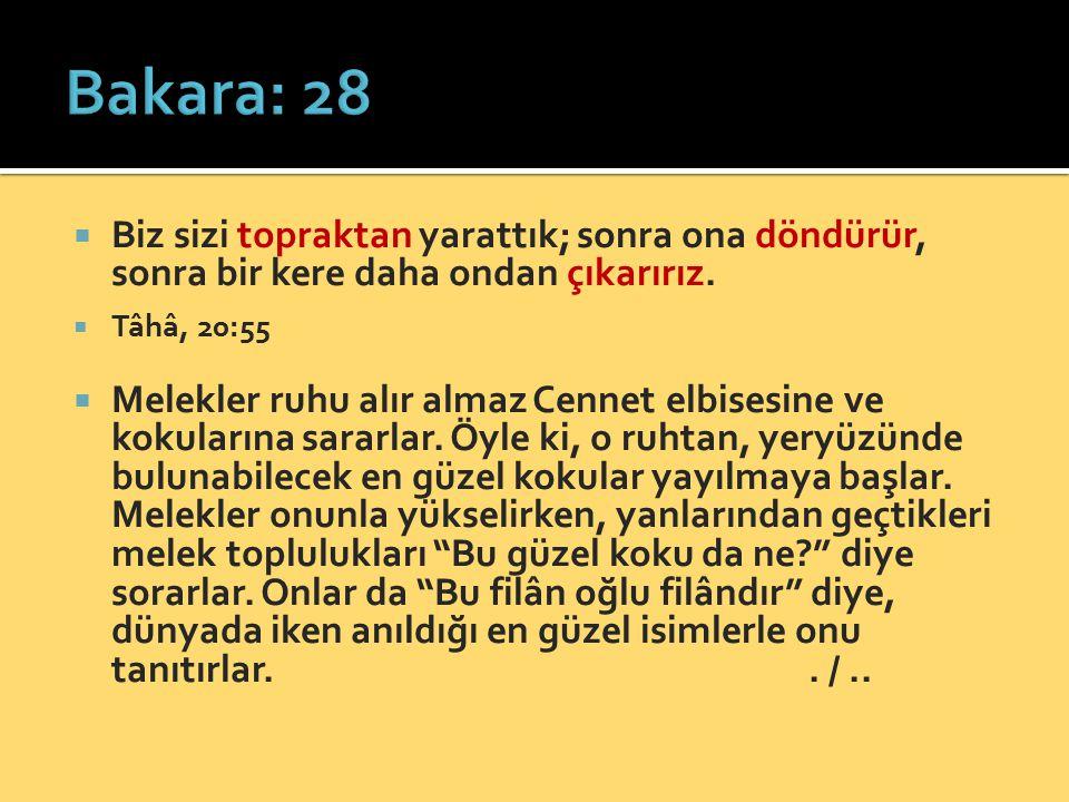 Bakara: 28 Biz sizi topraktan yarattık; sonra ona döndürür, sonra bir kere daha ondan çıkarırız. Tâhâ, 20:55.