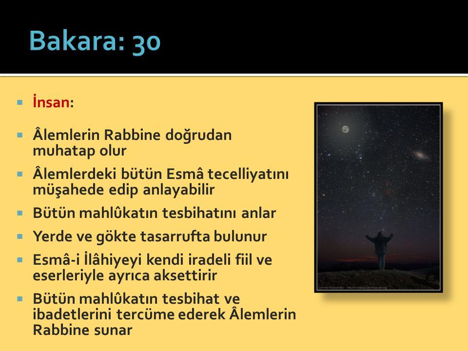 Bakara: 30 İnsan: Âlemlerin Rabbine doğrudan muhatap olur