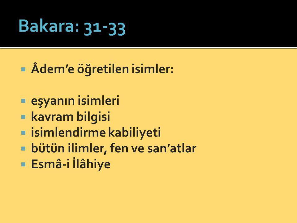 Bakara: 31-33 Âdem'e öğretilen isimler: eşyanın isimleri