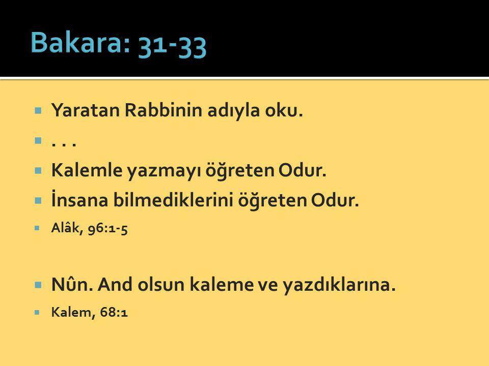 Bakara: 31-33 Yaratan Rabbinin adıyla oku. . . .
