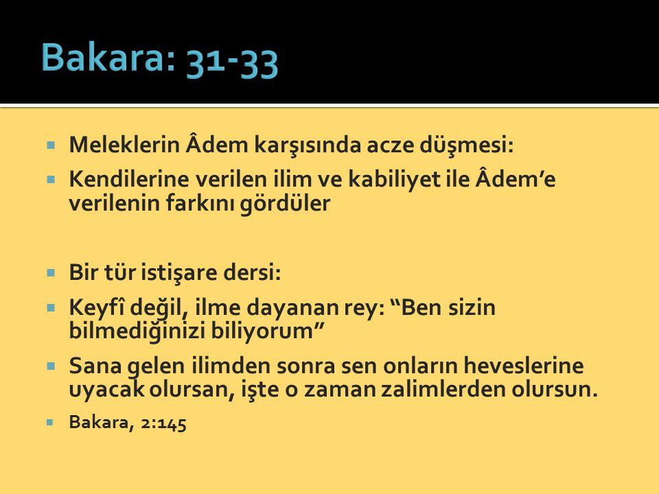 Bakara: 31-33 Meleklerin Âdem karşısında acze düşmesi: