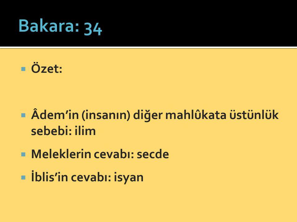 Bakara: 34 Özet: Âdem'in (insanın) diğer mahlûkata üstünlük sebebi: ilim. Meleklerin cevabı: secde.