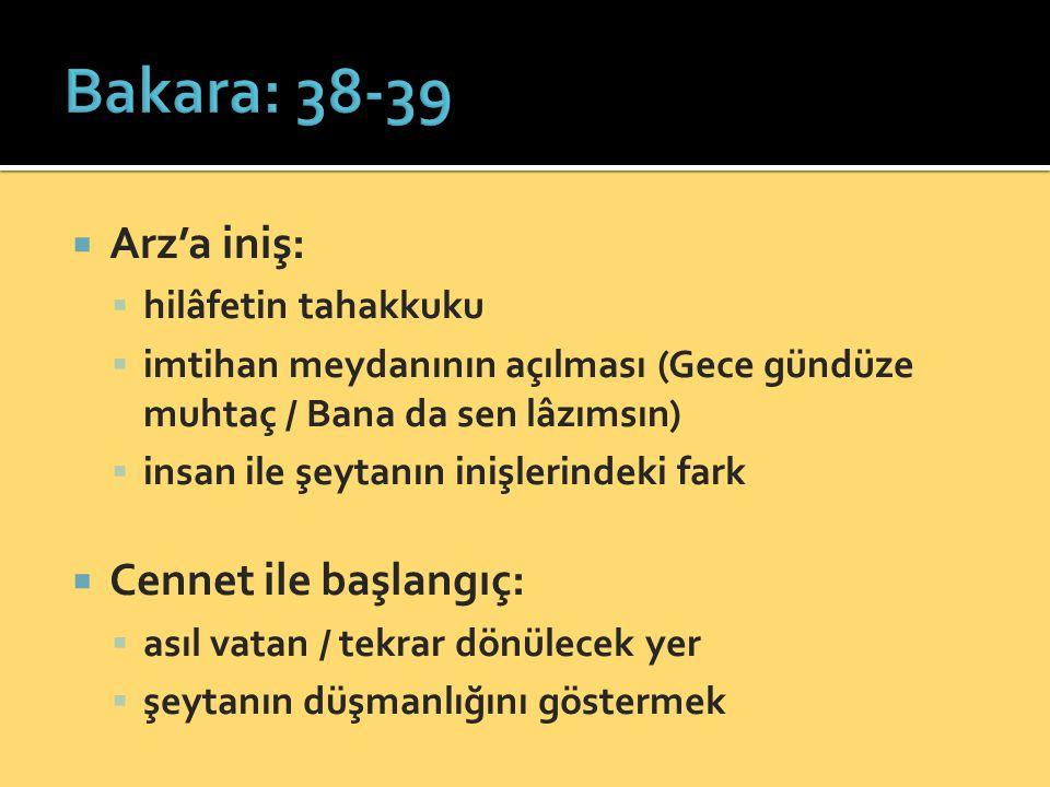 Bakara: 38-39 Arz'a iniş: Cennet ile başlangıç: hilâfetin tahakkuku