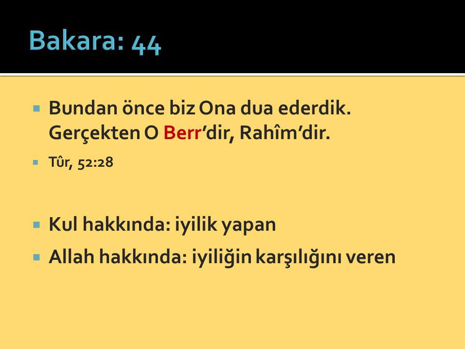 Bakara: 44 Bundan önce biz Ona dua ederdik. Gerçekten O Berr'dir, Rahîm'dir. Tûr, 52:28. Kul hakkında: iyilik yapan.