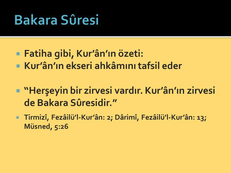 Bakara Sûresi Fatiha gibi, Kur'ân'ın özeti: