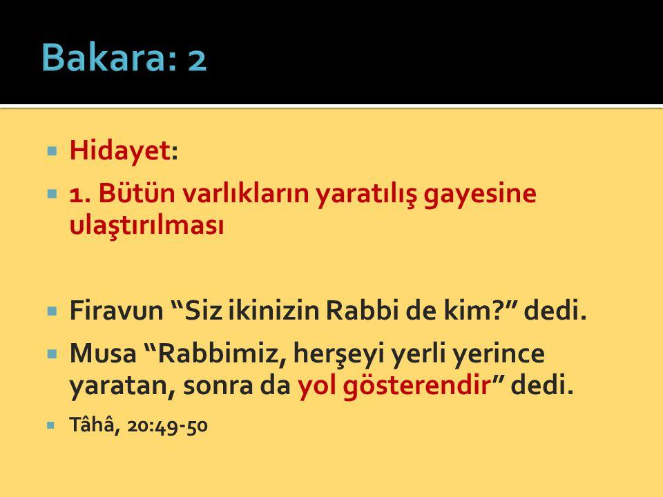 Bakara: 2 Hidayet: 1. Bütün varlıkların yaratılış gayesine ulaştırılması. Firavun Siz ikinizin Rabbi de kim dedi.