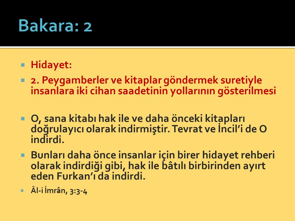 Bakara: 2 Hidayet: 2. Peygamberler ve kitaplar göndermek suretiyle insanlara iki cihan saadetinin yollarının gösterilmesi.