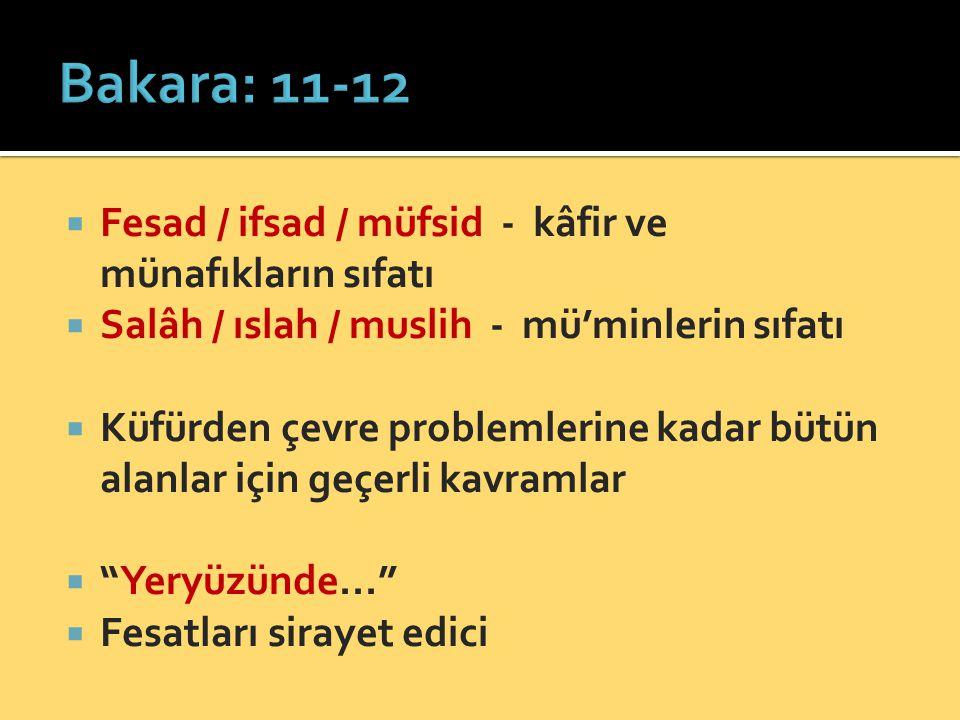 Bakara: 11-12 Fesad / ifsad / müfsid - kâfir ve münafıkların sıfatı