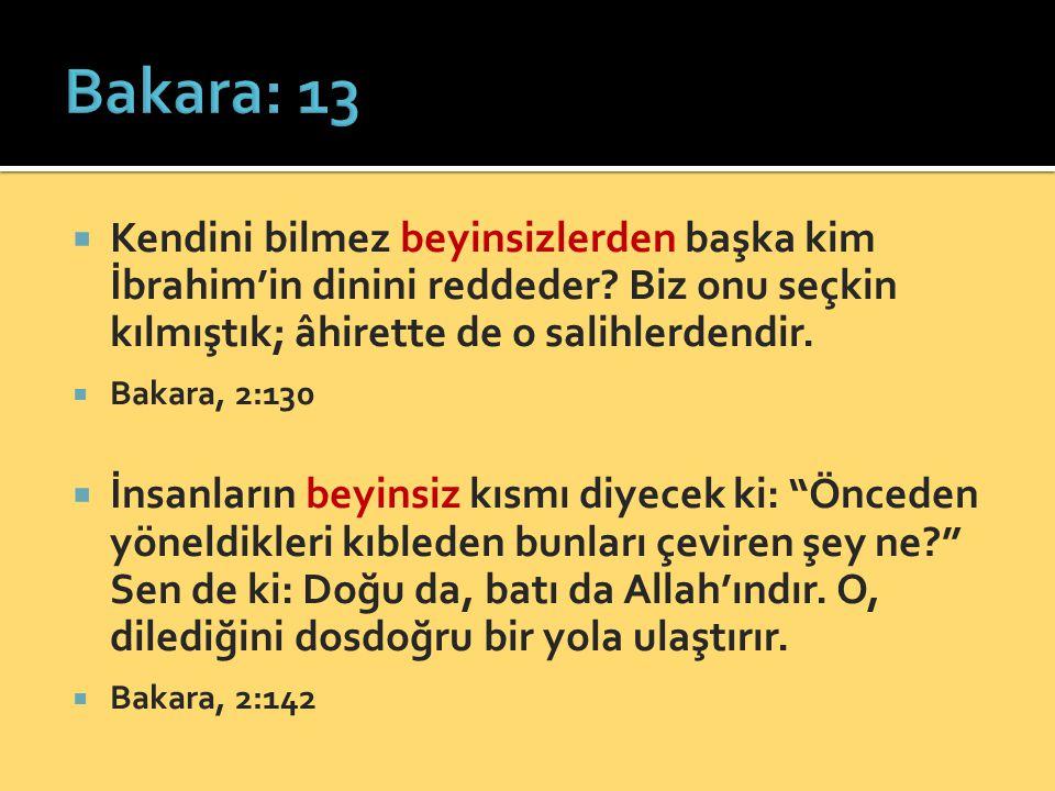 Bakara: 13 Kendini bilmez beyinsizlerden başka kim İbrahim'in dinini reddeder Biz onu seçkin kılmıştık; âhirette de o salihlerdendir.