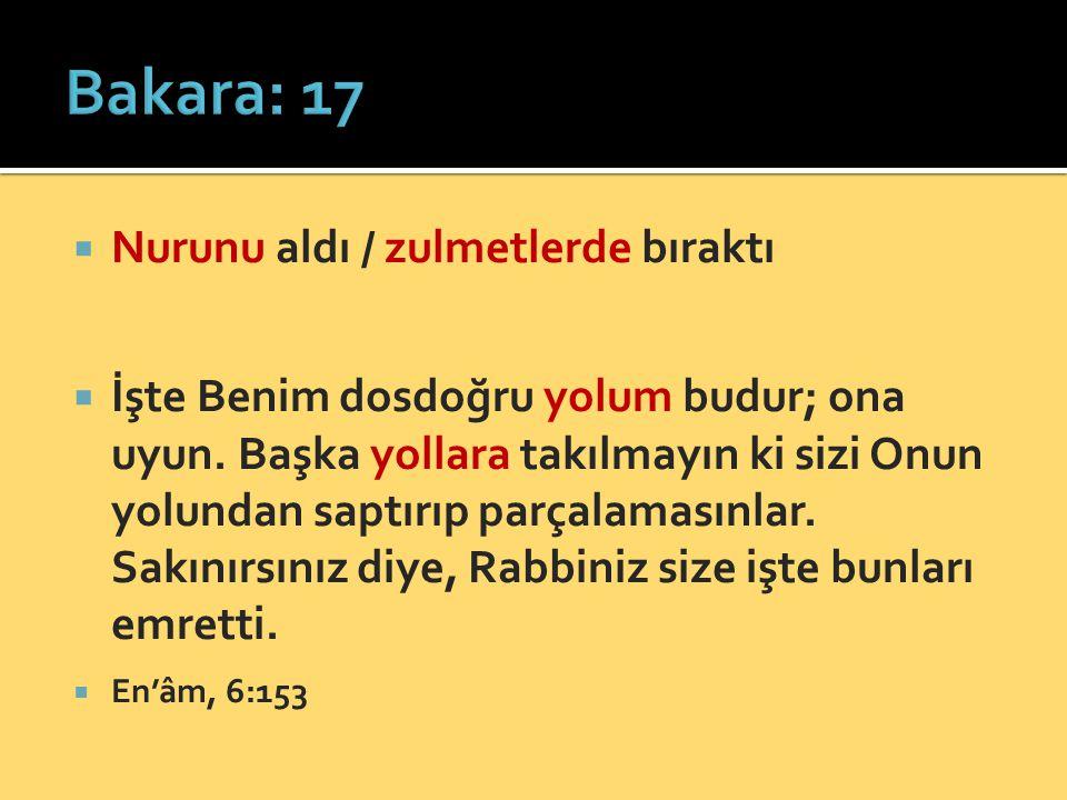 Bakara: 17 Nurunu aldı / zulmetlerde bıraktı