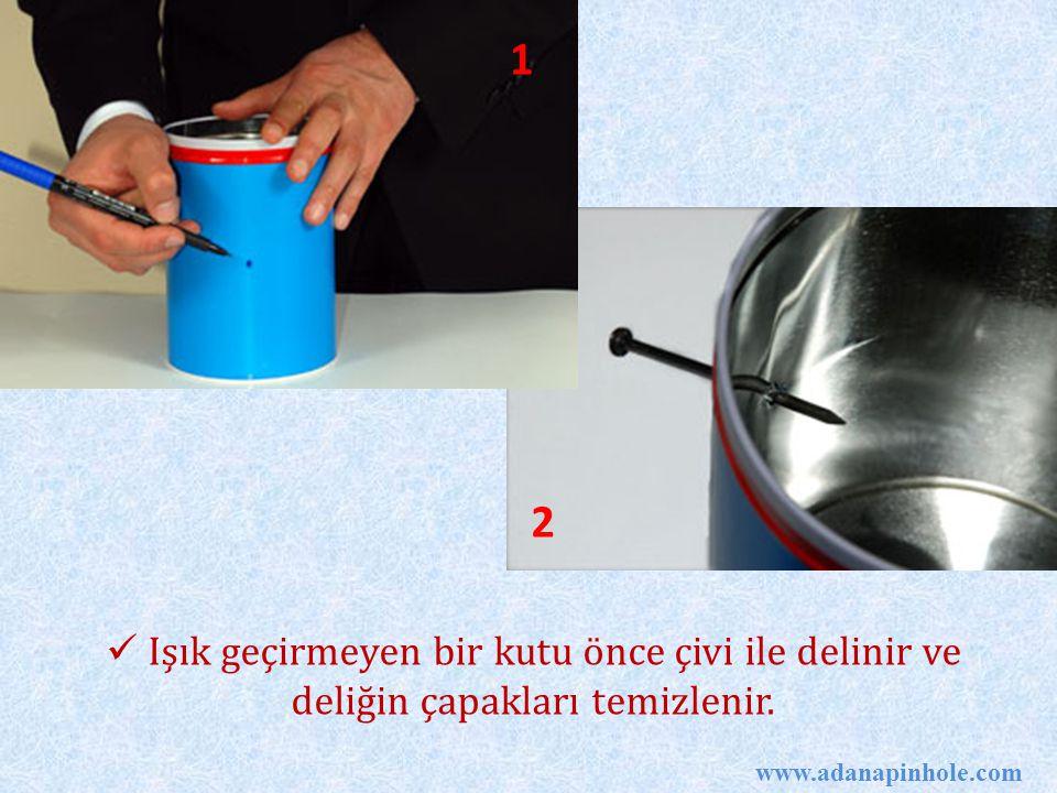 1 2. Işık geçirmeyen bir kutu önce çivi ile delinir ve deliğin çapakları temizlenir.