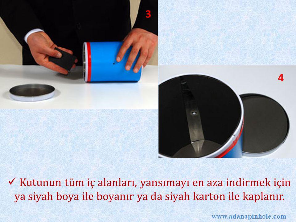 3 4. Kutunun tüm iç alanları, yansımayı en aza indirmek için ya siyah boya ile boyanır ya da siyah karton ile kaplanır.