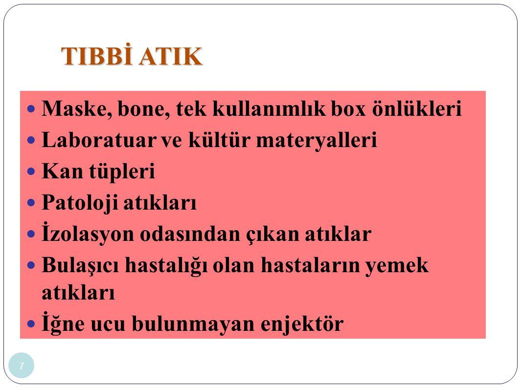 TIBBİ ATIK Maske, bone, tek kullanımlık box önlükleri