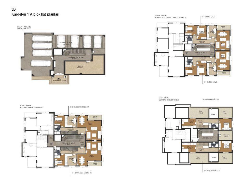 3D Kardelen 1 A blok kat planları