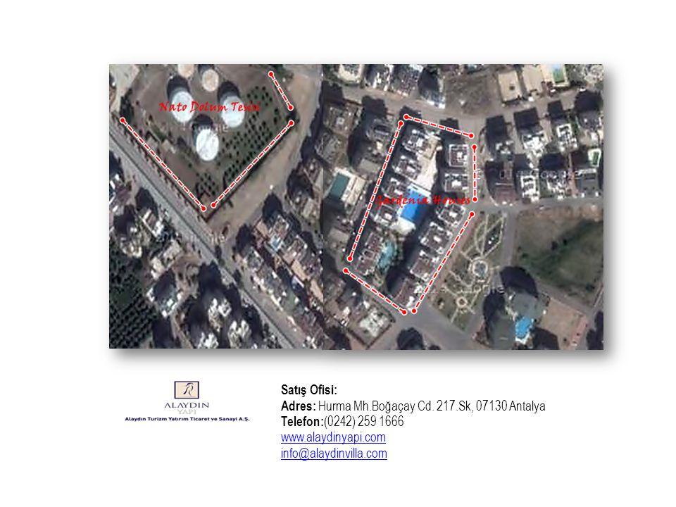Satış Ofisi: Adres: Hurma Mh.Boğaçay Cd. 217.Sk, 07130 Antalya