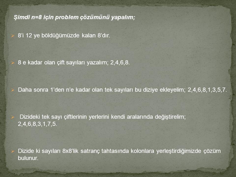Şimdi n=8 için problem çözümünü yapalım;