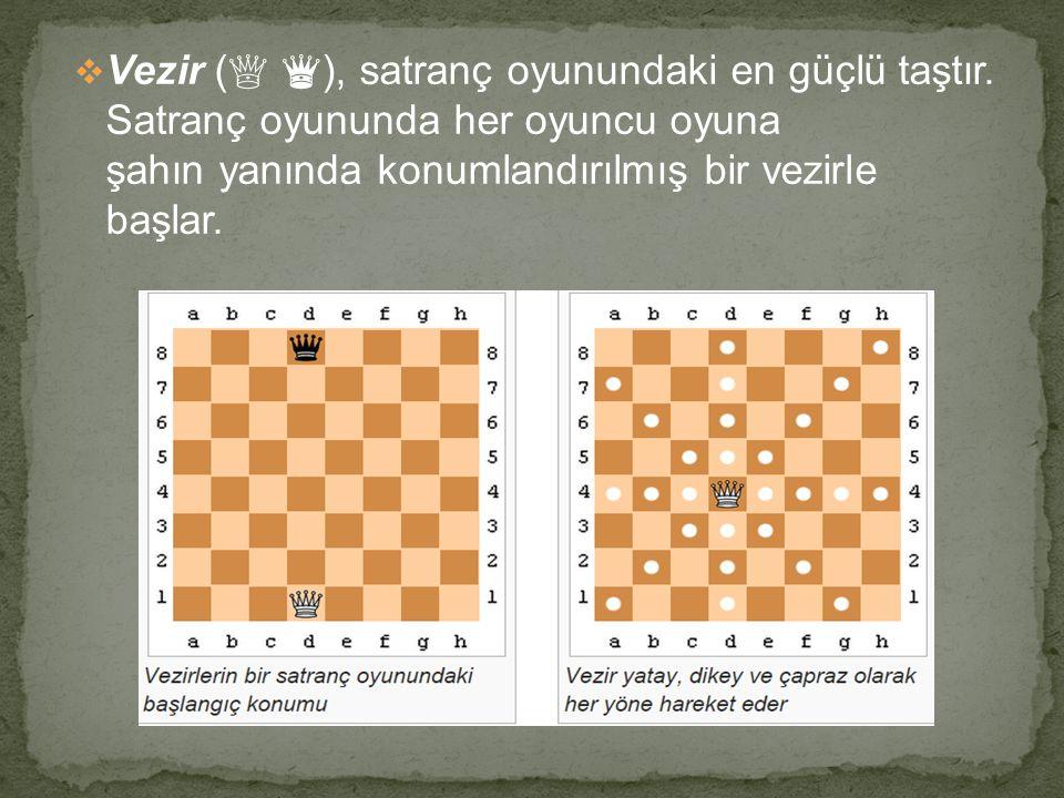 Vezir (♕ ♛), satranç oyunundaki en güçlü taştır