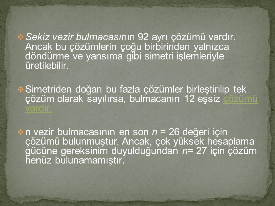 Sekiz vezir bulmacasının 92 ayrı çözümü vardır