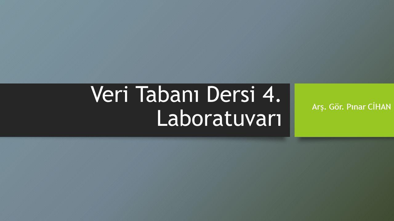 Veri Tabanı Dersi 4. Laboratuvarı