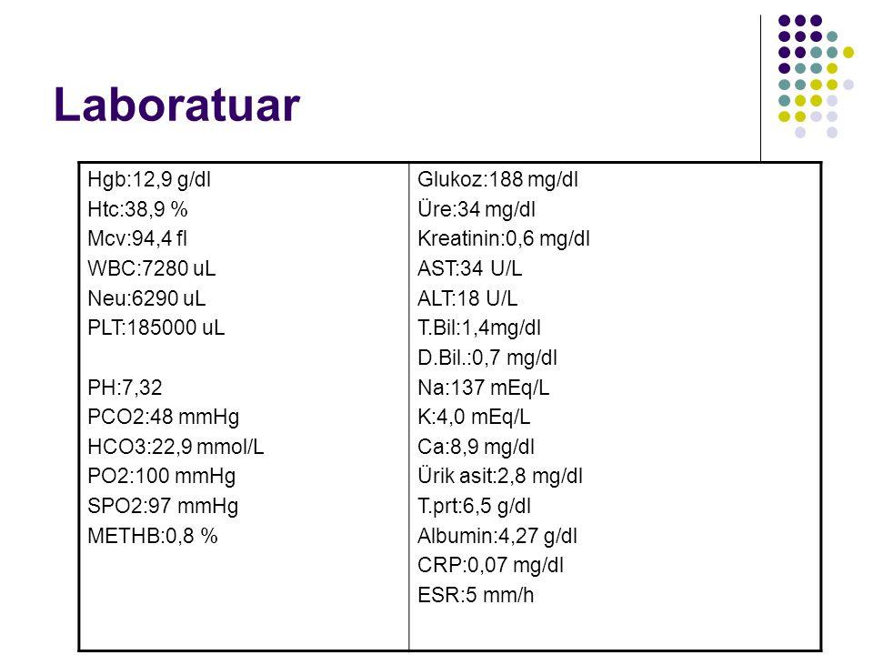 Laboratuar Hgb:12,9 g/dl Htc:38,9 % Mcv:94,4 fl WBC:7280 uL