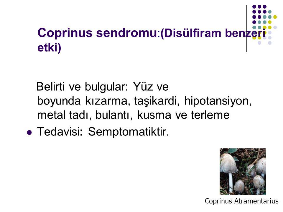 Coprinus sendromu:(Disülfiram benzeri etki)