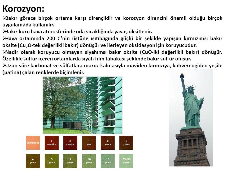 Korozyon: Bakır görece birçok ortama karşı dirençlidir ve korozyon direncini önemli olduğu birçok uygulamada kullanılır.