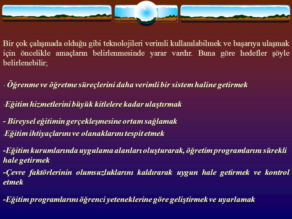 - Bireysel eğitimin gerçekleşmesine ortam sağlamak
