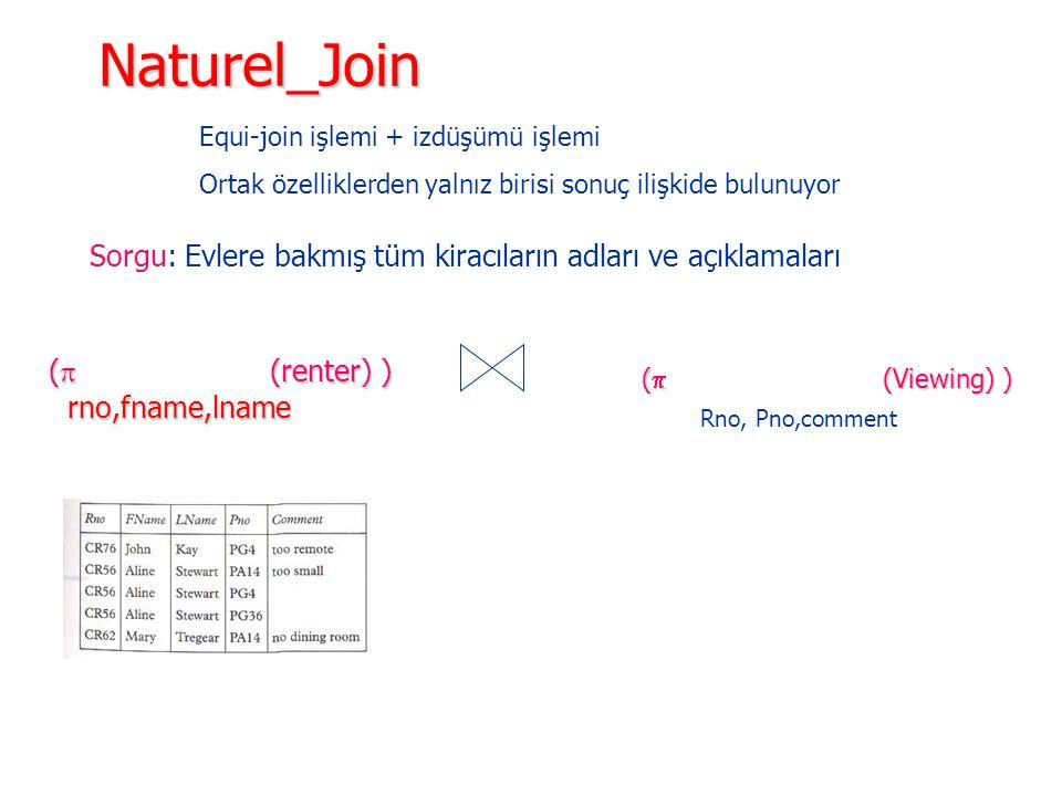 Naturel_Join Equi-join işlemi + izdüşümü işlemi. Ortak özelliklerden yalnız birisi sonuç ilişkide bulunuyor.