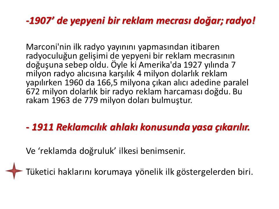 -1907' de yepyeni bir reklam mecrası doğar; radyo!