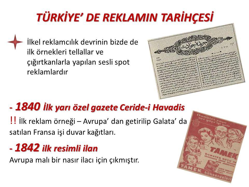TÜRKİYE' DE REKLAMIN TARİHÇESİ