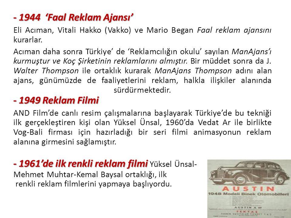 - 1944 'Faal Reklam Ajansı' Eli Acıman, Vitali Hakko (Vakko) ve Mario Began Faal reklam ajansını kurarlar.