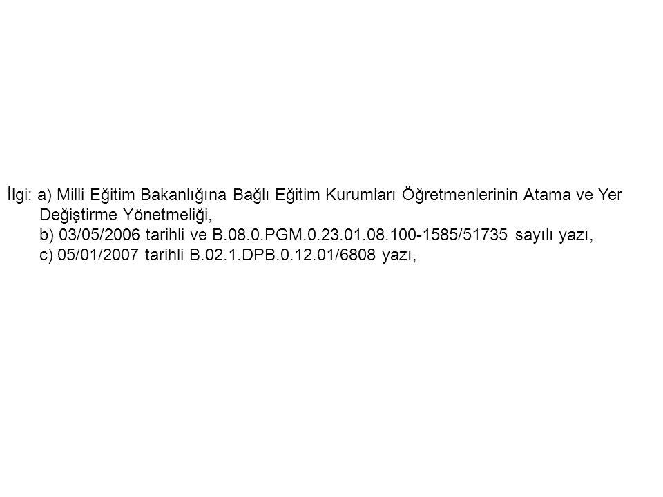 İlgi: a) Milli Eğitim Bakanlığına Bağlı Eğitim Kurumları Öğretmenlerinin Atama ve Yer