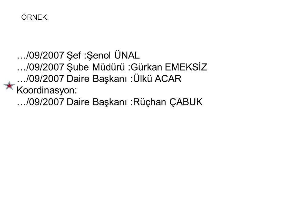 …/09/2007 Şube Müdürü :Gürkan EMEKSİZ