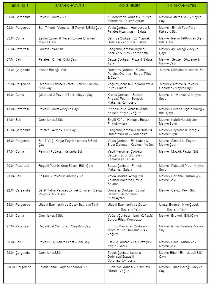 04-2014 Yemek Listesi NİSAN 2015 SABAH KAHVALTISI ÖĞLE YEMEĞİ