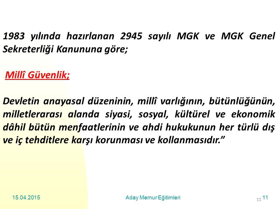 1983 yılında hazırlanan 2945 sayılı MGK ve MGK Genel Sekreterliği Kanununa göre;