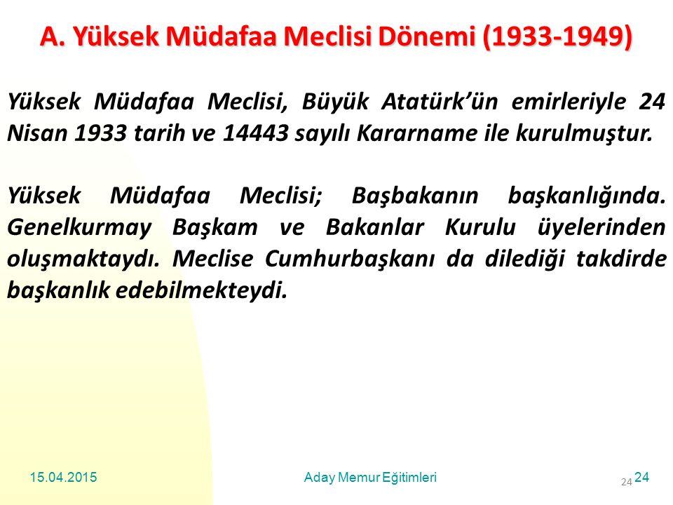 A. Yüksek Müdafaa Meclisi Dönemi (1933-1949)