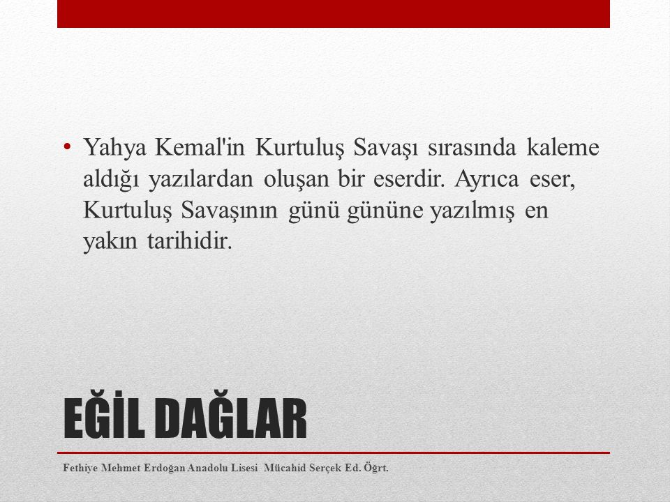 Yahya Kemal in Kurtuluş Savaşı sırasında kaleme aldığı yazılardan oluşan bir eserdir. Ayrıca eser, Kurtuluş Savaşının günü gününe yazılmış en yakın tarihidir.