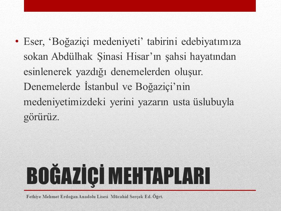 Eser, 'Boğaziçi medeniyeti' tabirini edebiyatımıza sokan Abdülhak Şinasi Hisar'ın şahsi hayatından esinlenerek yazdığı denemelerden oluşur. Denemelerde İstanbul ve Boğaziçi'nin medeniyetimizdeki yerini yazarın usta üslubuyla görürüz.