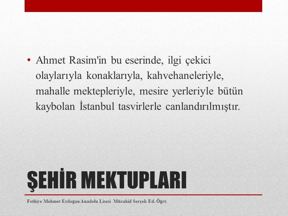 Ahmet Rasim in bu eserinde, ilgi çekici olaylarıyla konaklarıyla, kahvehaneleriyle, mahalle mektepleriyle, mesire yerleriyle bütün kaybolan İstanbul tasvirlerle canlandırılmıştır.