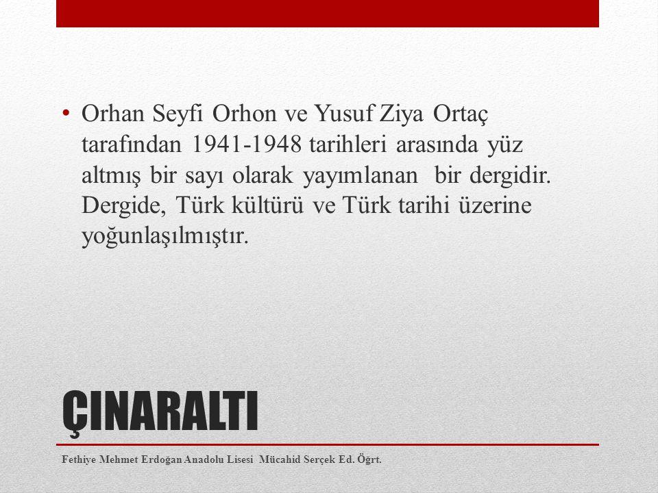 Orhan Seyfi Orhon ve Yusuf Ziya Ortaç tarafından 1941-1948 tarihleri arasında yüz altmış bir sayı olarak yayımlanan bir dergidir. Dergide, Türk kültürü ve Türk tarihi üzerine yoğunlaşılmıştır.