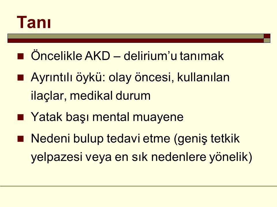 Tanı Öncelikle AKD – delirium'u tanımak