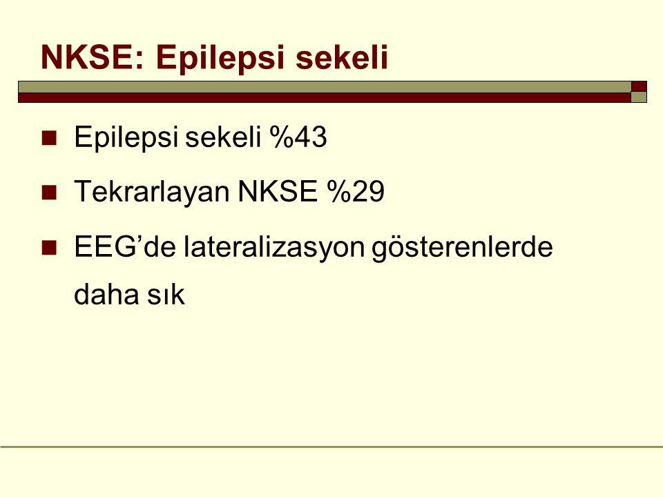 NKSE: Epilepsi sekeli Epilepsi sekeli %43 Tekrarlayan NKSE %29