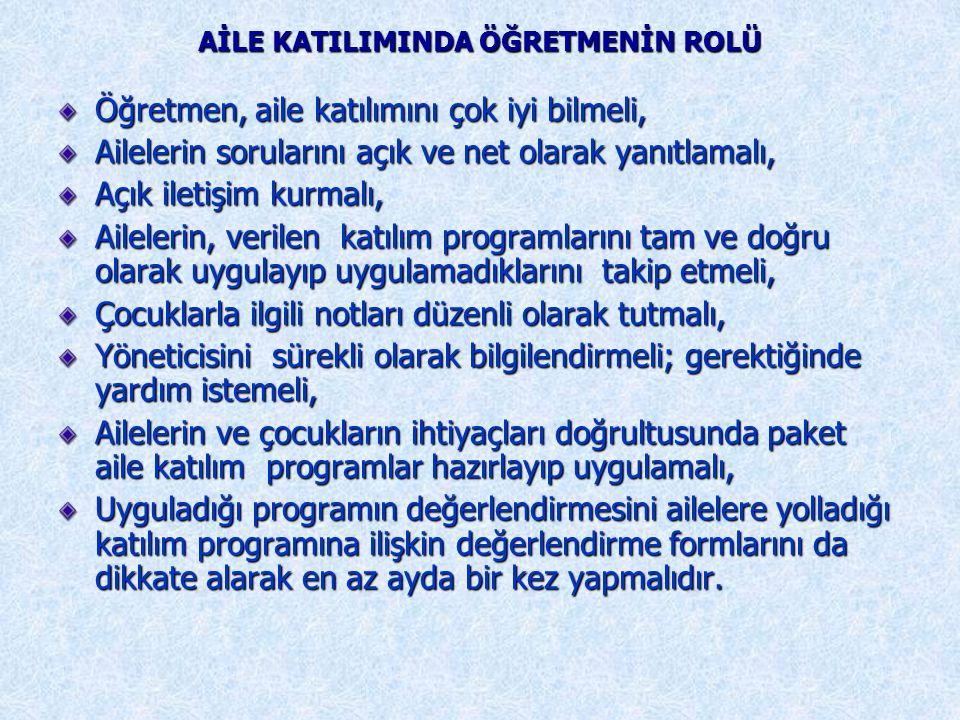 AİLE KATILIMINDA ÖĞRETMENİN ROLÜ