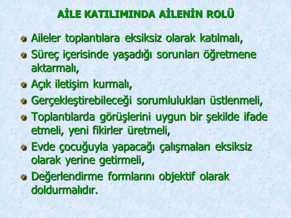 AİLE KATILIMINDA AİLENİN ROLÜ